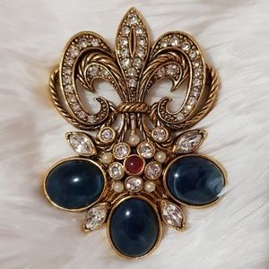 VINTAGE Gold Avon Blue Red Clear Stone Brooch Pin
